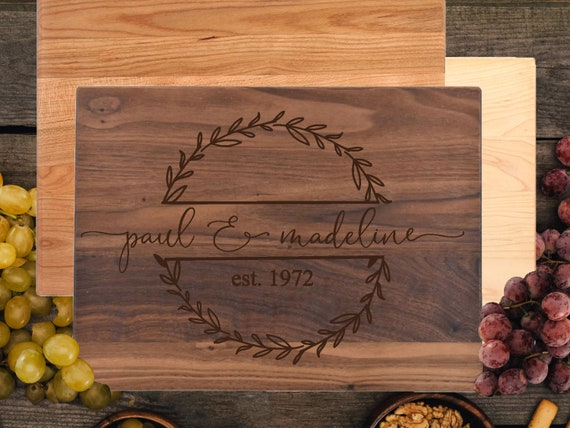 Personalized Cutting Board - Engraved Monogram Design, Custom Gift for Wedding, Housewarming, or Anniversary
