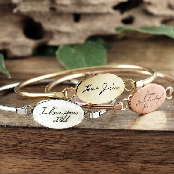 Gold Handwriting Jewelry, Handwriting Bangle Bracelet, Personalized Engraved Bracelet, Memorial Bracelet, Gift for Her, Sympathy Gift