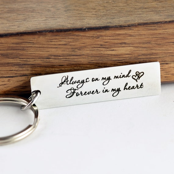 Always on My Mind Forever In my Heart Key Chain, loss of mother In memory of mom Sorry for your loss of mom loss of loved one memorial gift