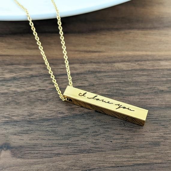 Handwriting Gift, Handwriting Necklace, Personalized Bar Necklace, 4 Sided Bar Necklace, Vertical Bar Necklace, Engraved Bar Necklace