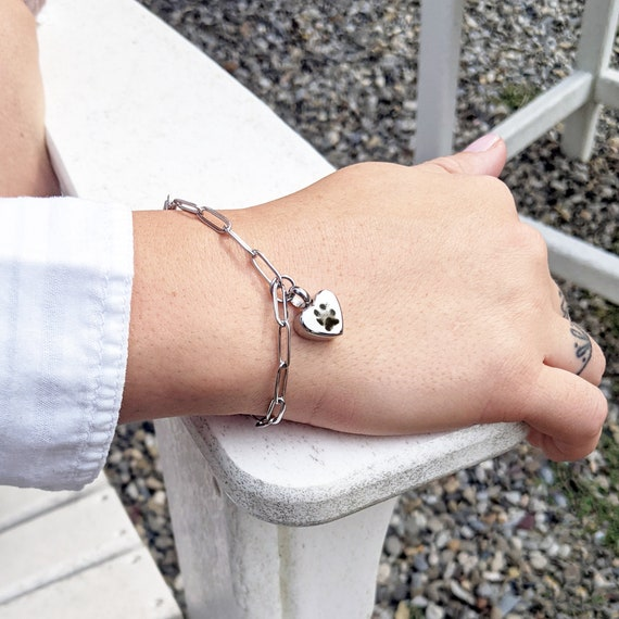 Actual Dog Paw Cremation Bracelet, Pet Loss Gifts, Pet Loss Bracelet, Memorial Bracelet, Actual Paw Print, Cremation Jewelry for Women