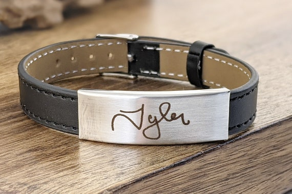 Memorial Jewelry, Memorial Gift, Handwriting Bracelet, Engraved Memorial Bracelet, Actual Handwriting, Personalized Leather Bracelet