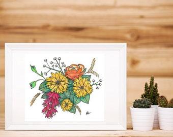 Watercolour Yellow Daisy Bouquet