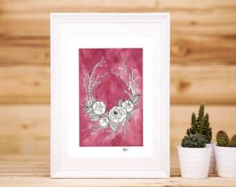 Watercolour Peony Wreath Artwork