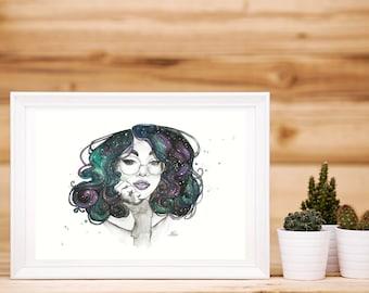 Watercolour Cosmic Curls Artwork