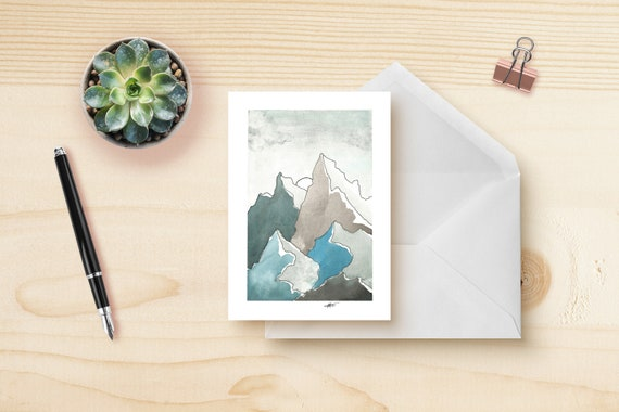 Blue mountains greeting card etsy m4hsunfo