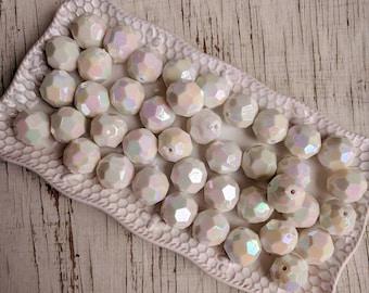 20mm white iridescent solid hexagon bubblegum beads (10ct) chunky beads hexagon gumball beads wholesale jewelry making supplies