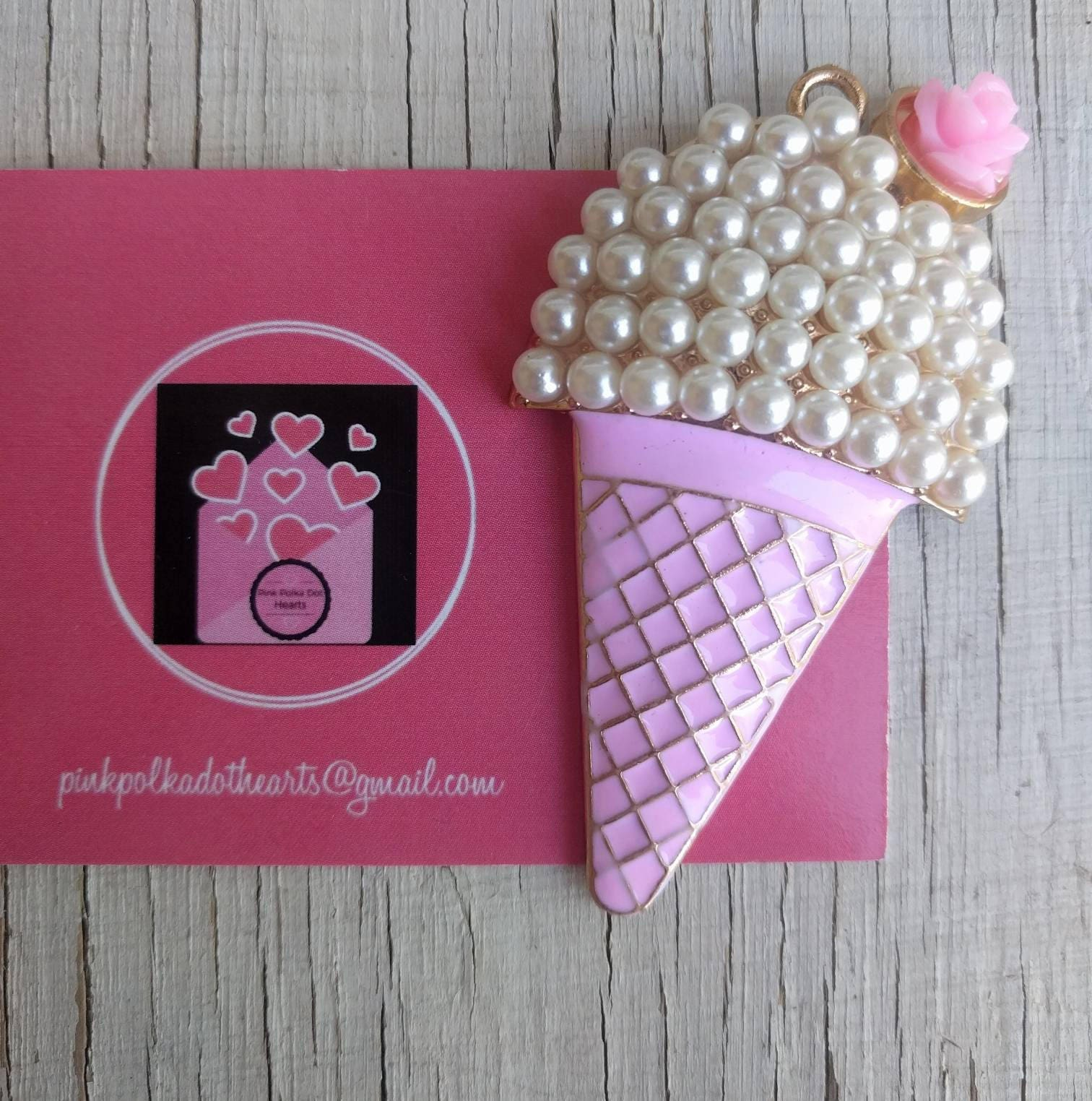 Pink and pearl ice cream cone 64mm x 34mm pendant for