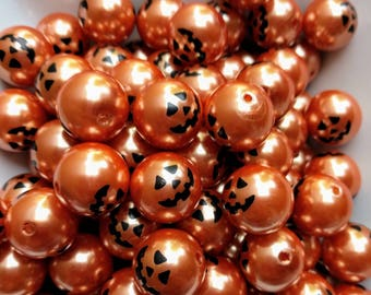 12mm or 20mm pumpkin jack 'o lantern print bubblegum beads (10ct) gumball chunky necklace wholesale girl's jewelry wholesale beads Halloween