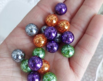 12mm spiderweb pearl orange lime silver purple bubblegum (10ct) gumball beads wholesale chunky necklace beads girl's jewelry spider web