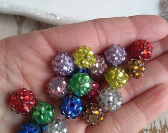 12mm mixed colors rhinestone bubblegum spacer beads (10ct) gumball wholesale beads chunky necklace making supply spacer rainbow spacer beads