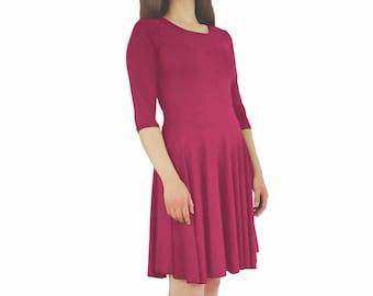 Hot Pink Dress, pink casual dress, pink dress, pink work dress, pink knit dress, slip on dress, pink day dress, dark pink dress