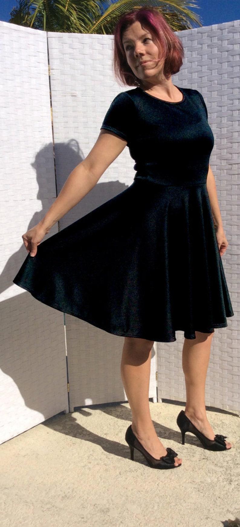 3d80d3a2d6c Black velvet dress swing dress women s dance dress