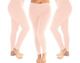 Light pink leggings, blush pink leggings, pink leggings, yoga leggings, women's leggings, leggings, cotton leggings, soft pink leggings