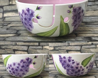 yarn bowl, lilac, flowers, knitting, crochet, knit, crocheting, gifts for her, yarn holder, wool bowl, knitting bowl, crochet bowl,