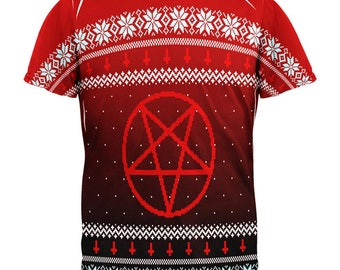612ba5b8938329 Ugly Christmas Sweater Red Black Pentagram Ombre All Over Mens T Shirt