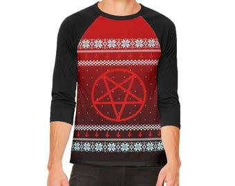a1a63d1f2c6a44 Ugly Christmas Sweater Red Black Pentagram Ombre Mens Raglan T Shirt