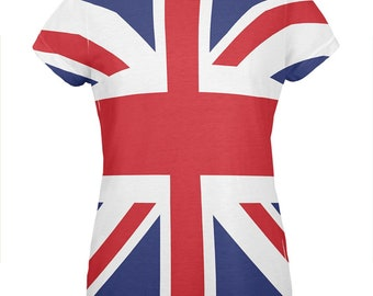 375435dc British Flag Union Jack All Over Womens T Shirt