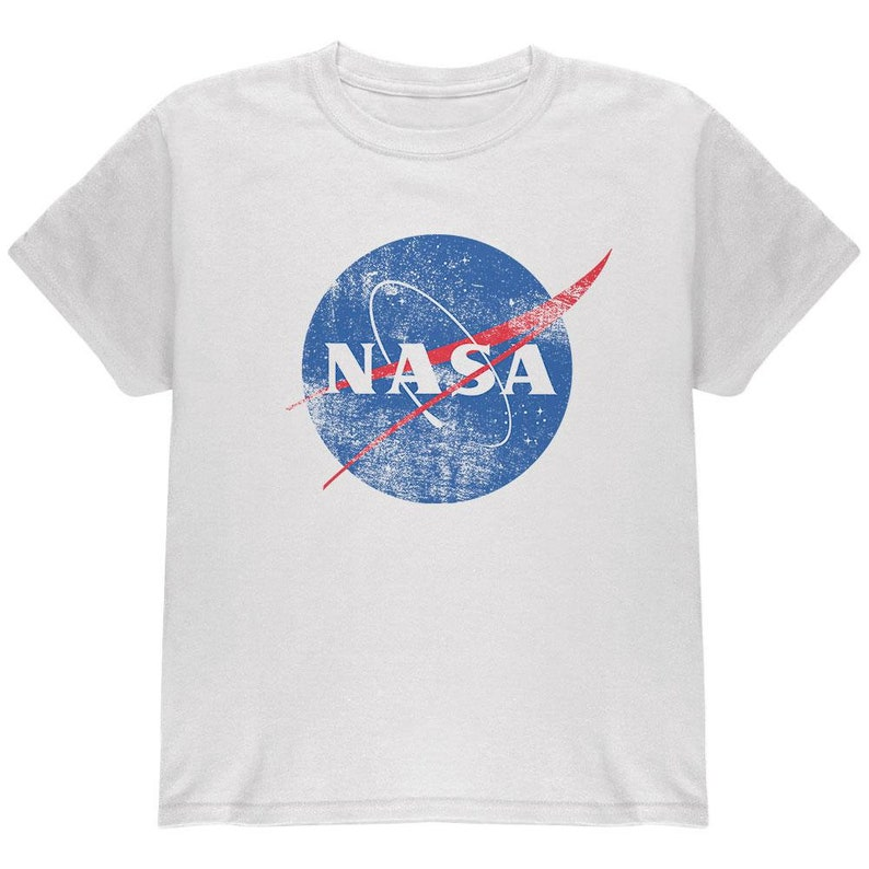 9b9352f5 NASA Distressed Logo White Youth T-Shirt | Etsy