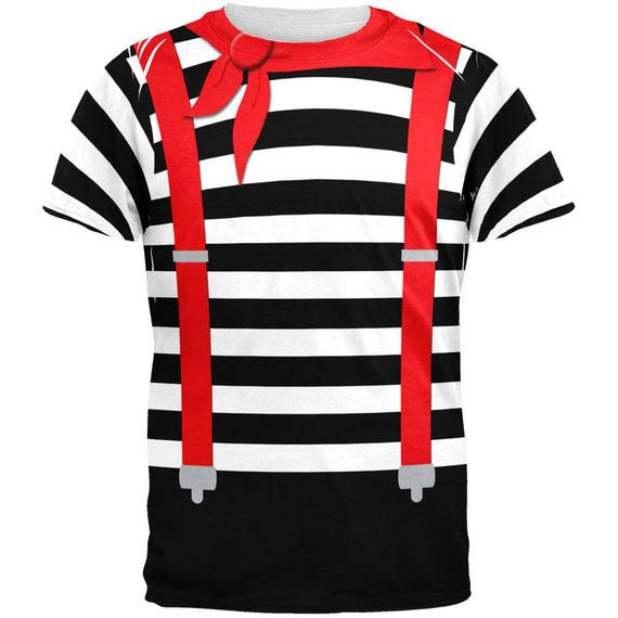 015380b27947 Halloween French Mime Costume All Over Adult T-Shirt