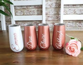 Personalised Champagne stemless Flute- Wine Tumble, Tumblers, Insulated, personalized Rose Gold Tumbler- Pink Tumbler- White Tumbler