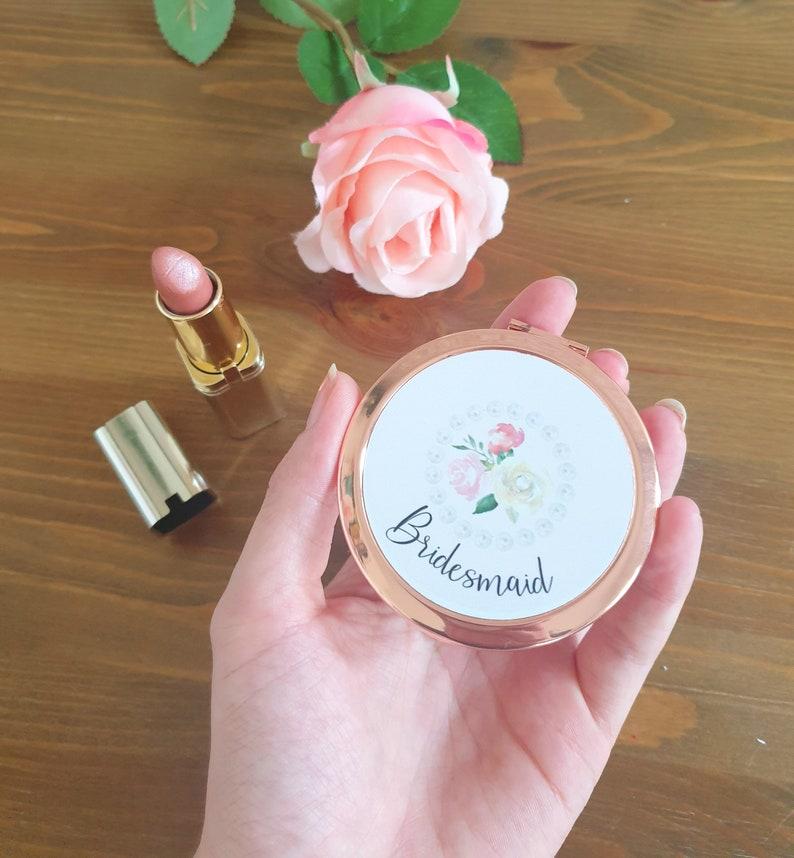 personalised Bride bridesmaid proposal,box filler bridesmaid gift pocket mirror Rose Gold compact mirror wedding