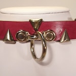 """Leather Collar with Dangling O-Ring and """"Teeth"""" Adornment"""