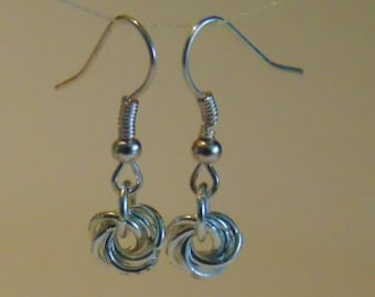 Love Knot Chain Maille  Earrings.  Mobius, Rose