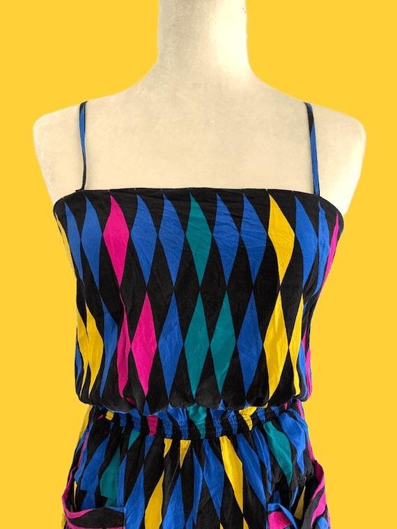 1970s Silk Harlequin Jumpsuit