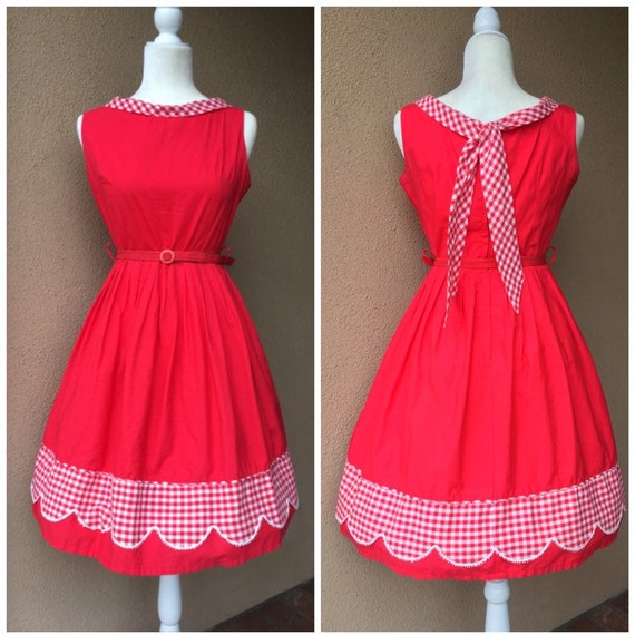 1950s Red Gingham Picnic Dress