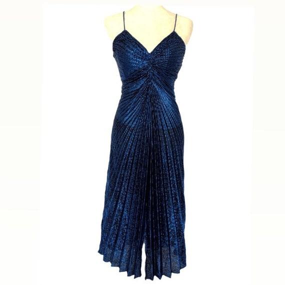Metallic Blue Travilla Inspired Lurex Dress