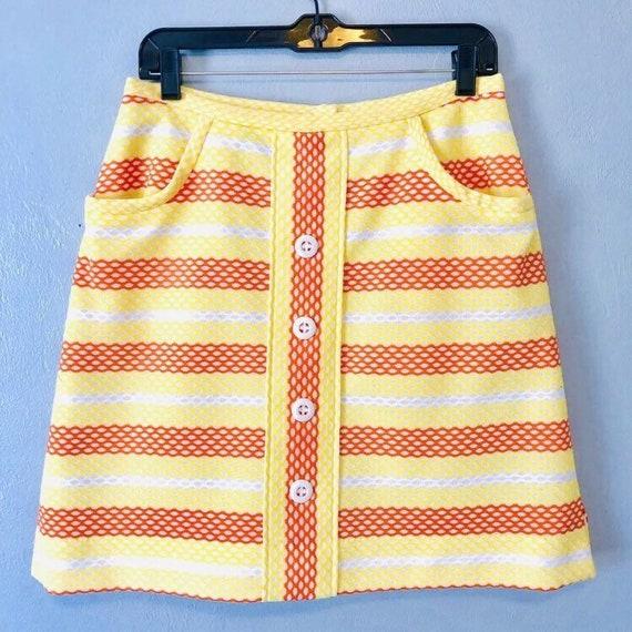 1960s Striped MOD Mini Skirt