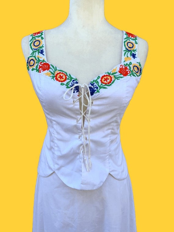 70s Embroidered Corset Set