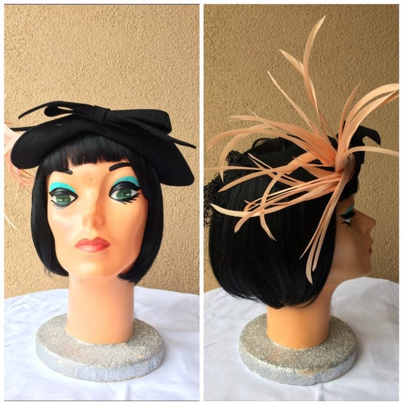 1940s Pink Feather Black Hat