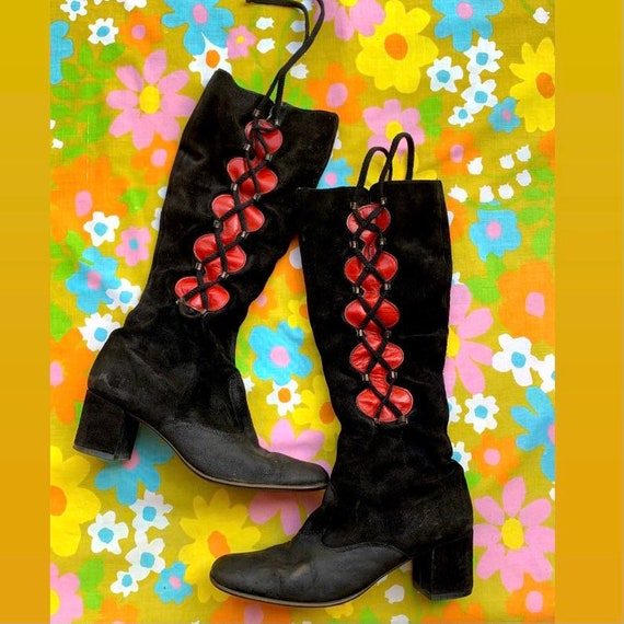 1960s Red Leather Black Suede Boots