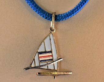 "Vintage F. Giorgi Sailboat Enamel Pendant Necklace 800 Silver Signed Nautical Jewelry 17"""