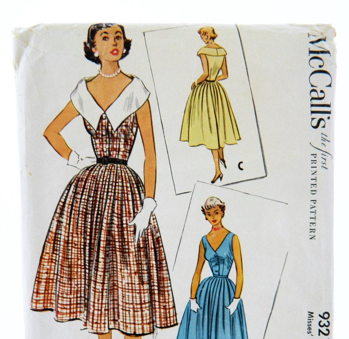 Vintage 1950s McCall vestido coser 9321 tamaño 16, 50s del patrón ...