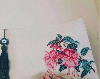 handmade clutch, purse, cross stitch clutch, embroidery bags, cross stitch, embroidery, accessories