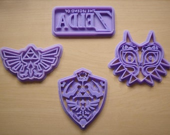 Legend of Zelda Cookie Cutter Set Of 4 A Link to the Past Majoras Mask Hylian Shield Triforce Wings