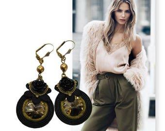 Soutache earrings, black soutache earrings, black green earrings