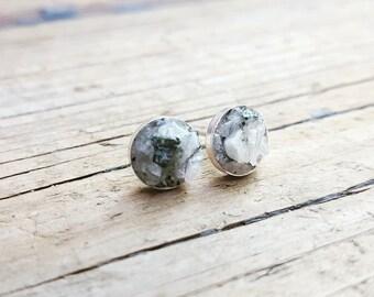 Sterling Silver Moonstone Gemstone Crushed Stone Earrings Studs