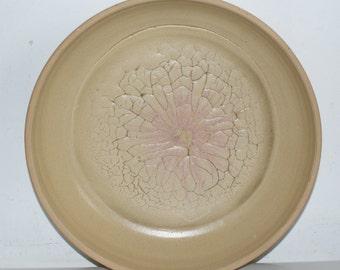 Large stoneware dish,Fruit dish, Mocha design, Topaz glaze.Intricate pattern,Cornish pottery, ref Ld 103