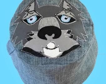 Wolf Sun hat, Denim Wolf Sun hat, denim hat, Animal Sun hat, Wildlife sun hat, festival hat, Bucket sun hat, toddler sun hat, boys sun hat