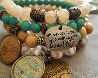 Love the Journey Beaded Bracelets. Glass beads wood Bracelet