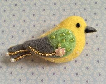 Yellow Birdie Needle-felt Wool Brooch