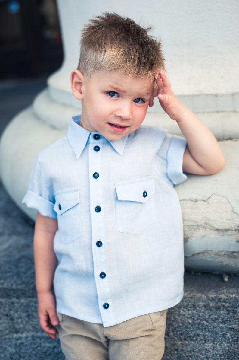 Linen Shirt Blue Baby Boy First Birthday Outfit 1st