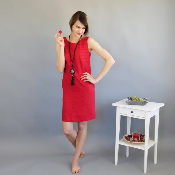 Linen Dresses For Women Red Linen Dress Wedding Guest Dress Etsy