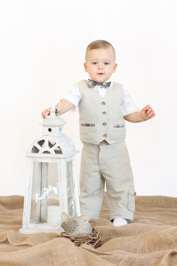 Linen Pants Christening Gown Christening Outfits For Boys | Etsy