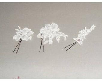 White flower bridal hair stick