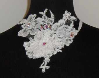 Wedding white lace necklace